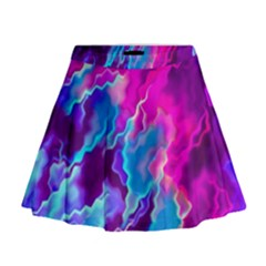 Stormy Pink Purple Teal Artwork Mini Flare Skirt by KirstenStar