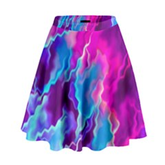 Stormy Pink Purple Teal Artwork High Waist Skirt by KirstenStar