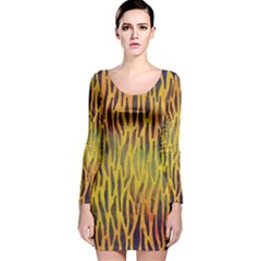 Colored Tiger Texture Background Long Sleeve Velvet Bodycon Dress