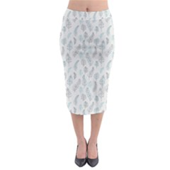 Whimsical Feather Pattern, Dusk Blue Midi Pencil Skirt