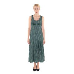 Whimsical Feather Pattern, Forest Green Sleeveless Maxi Dress by Zandiepants
