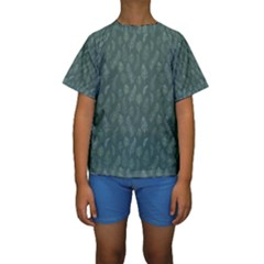 Whimsical Feather Pattern, Forest Green Kid s Short Sleeve Swimwear by Zandiepants