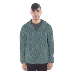 Whimsical Feather Pattern, Forest Green Hooded Wind Breaker (Men) by Zandiepants