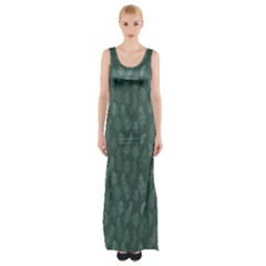 Whimsical Feather Pattern, Forest Green Maxi Thigh Split Dress