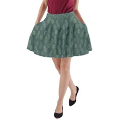 Whimsical Feather Pattern, Forest Green A Line Pocket Skirt by Zandiepants