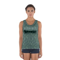 Whimsical Feather Pattern, Forest Green Tops by Zandiepants