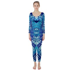 Blue Mirror Abstract Geometric Long Sleeve Catsuit by CrypticFragmentsDesign