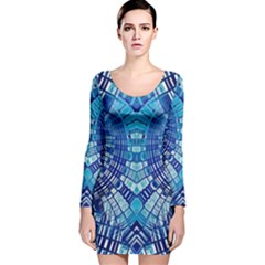 Blue Mirror Abstract Geometric Long Sleeve Velvet Bodycon Dress by CrypticFragmentsDesign