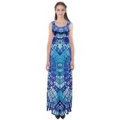 Blue Mirror Abstract Geometric Empire Waist Maxi Dress by CrypticFragmentsDesign