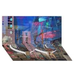 Las Vegas Strip Walking Tour Twin Heart Bottom 3d Greeting Card (8x4)  by CrypticFragmentsDesign