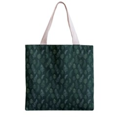 Whimsical Feather Pattern, Forest Green Zipper Grocery Tote Bag by Zandiepants
