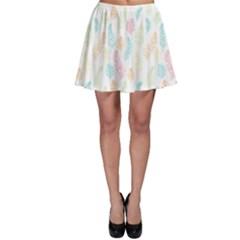 Whimsical Feather Pattern,fresh Colors, Skater Skirt