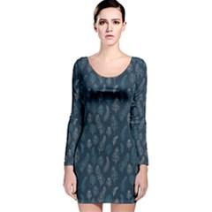 Whimsical Feather Pattern, Midnight Blue, Long Sleeve Velvet Bodycon Dress