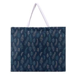 Whimsical Feather Pattern, Midnight Blue, Zipper Large Tote Bag by Zandiepants