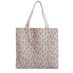 Whimsical Feather Pattern, Nature Brown, Zipper Grocery Tote Bag by Zandiepants