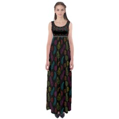Whimsical Feather Pattern, Bright Pink Red Blue Green Yellow, Empire Waist Maxi Dress by Zandiepants