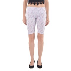 Whimsical Feather Pattern, Soft Colors, Yoga Cropped Leggings