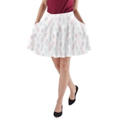 Whimsical Feather Pattern, Soft Colors, A Line Pocket Skirt