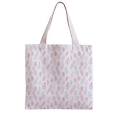 Whimsical Feather Pattern, Soft Colors, Zipper Grocery Tote Bag by Zandiepants