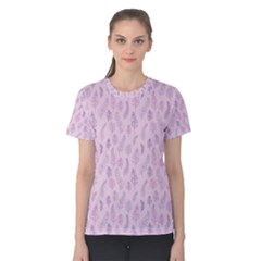 Whimsical Feather Pattern, Pink & Purple, Women s Cotton Tee by Zandiepants