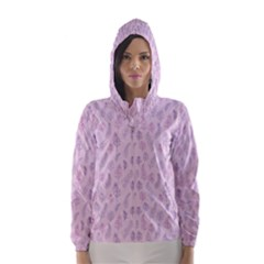 Whimsical Feather Pattern, Pink & Purple, Hooded Wind Breaker (women) by Zandiepants
