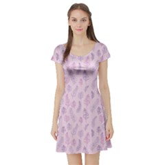 Whimsical Feather Pattern, pink & purple, Short Sleeve Skater Dress by Zandiepants