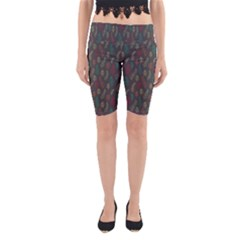 Whimsical Feather Pattern, autumn colors, Yoga Cropped Leggings by Zandiepants