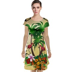 Tropical Design With Flamingo And Palm Tree Cap Sleeve Nightdress by FantasyWorld7