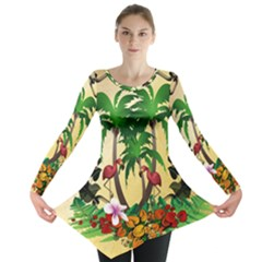 Tropical Design With Flamingo And Palm Tree Long Sleeve Tunic