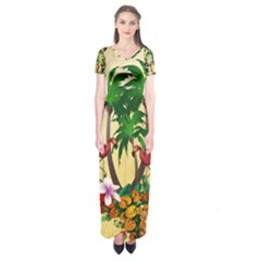 Tropical Design With Flamingo And Palm Tree Short Sleeve Maxi Dress by FantasyWorld7