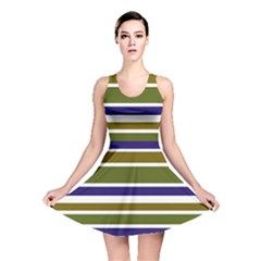 Olive Green Blue Stripes Pattern Reversible Skater Dress by BrightVibesDesign