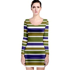 Olive Green Blue Stripes Pattern Long Sleeve Bodycon Dress by BrightVibesDesign