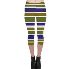 Olive Green Blue Stripes Pattern Capri Leggings  by BrightVibesDesign