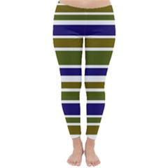 Olive Green Blue Stripes Pattern Winter Leggings  by BrightVibesDesign
