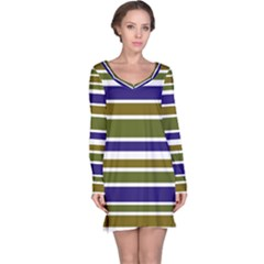 Olive Green Blue Stripes Pattern Long Sleeve Nightdress by BrightVibesDesign