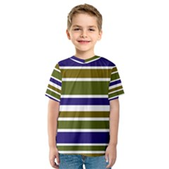 Olive Green Blue Stripes Pattern Kid s Sport Mesh Tee by BrightVibesDesign