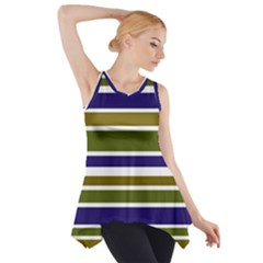 Olive Green Blue Stripes Pattern Side Drop Tank Tunic by BrightVibesDesign