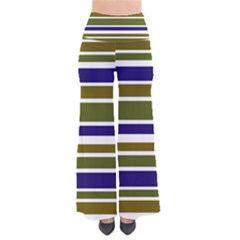Olive Green Blue Stripes Pattern Pants by BrightVibesDesign