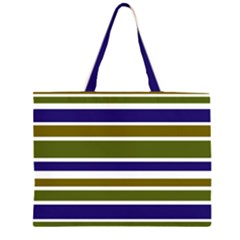 Olive Green Blue Stripes Pattern Large Tote Bag by BrightVibesDesign