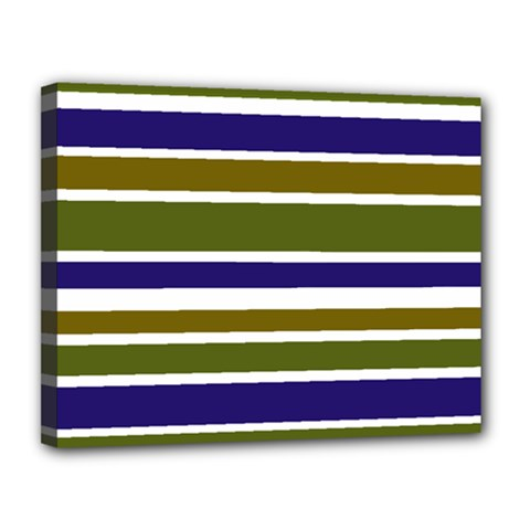 Olive Green Blue Stripes Pattern Canvas 14  X 11