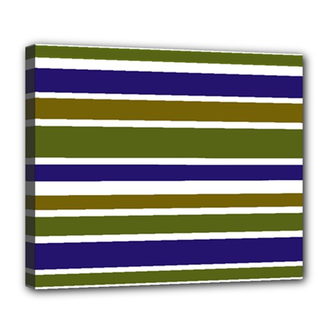 Olive Green Blue Stripes Pattern Deluxe Canvas 24  x 20   by BrightVibesDesign