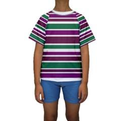 Purple Green Stripes Kid s Short Sleeve Swimwear