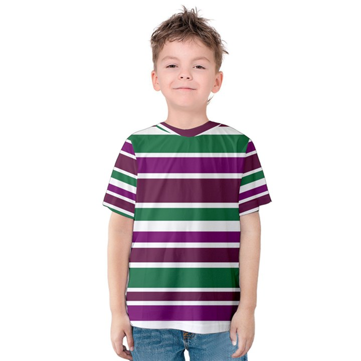 Purple Green Stripes Kid s Cotton Tee