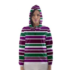 Purple Green Stripes Hooded Wind Breaker (Women) by BrightVibesDesign