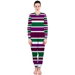 Purple Green Stripes OnePiece Jumpsuit (Ladies)  by BrightVibesDesign