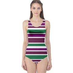 Purple Green Stripes One Piece Swimsuit by BrightVibesDesign