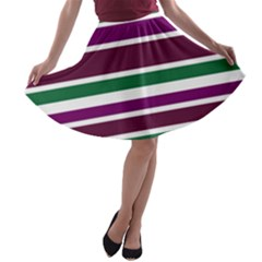 Purple Green Stripes A-line Skater Skirt by BrightVibesDesign