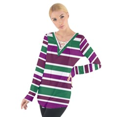Purple Green Stripes Women s Tie Up Tee by BrightVibesDesign