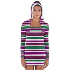 Purple Green Stripes Women s Long Sleeve Hooded T Shirt by BrightVibesDesign