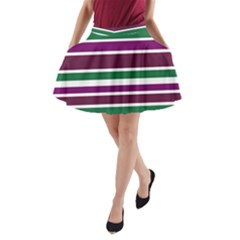 Purple Green Stripes A-Line Pocket Skirt by BrightVibesDesign